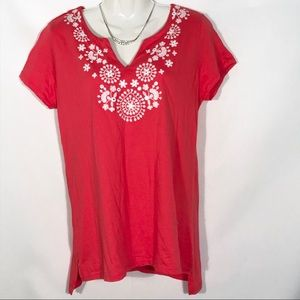 Premise Embroidered Blouse Top Coral Pink Size S